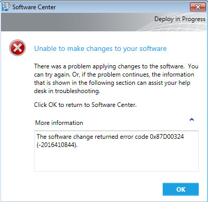 UPDATE] SCCM 2012R2 : Failed to deploy package 0x87D00324