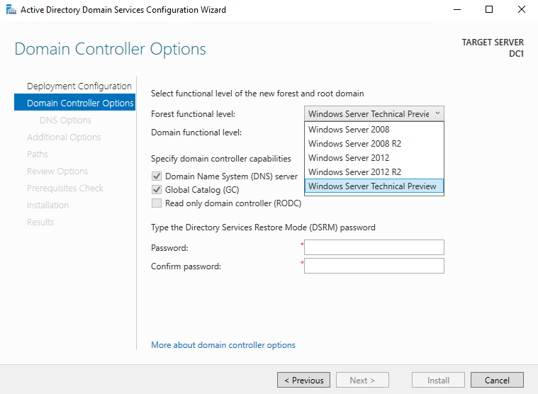 "Domain controller promotion process shows ""Windows Server"