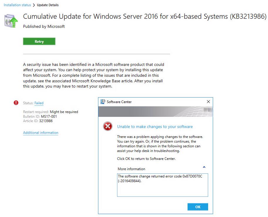 SCCM: The software change returned error code 0x87D0070C