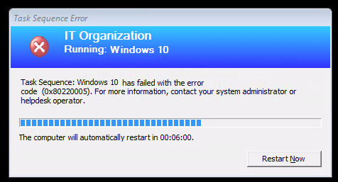 SCCM Task Sequence Failed with Error Code 0x80220005 – www