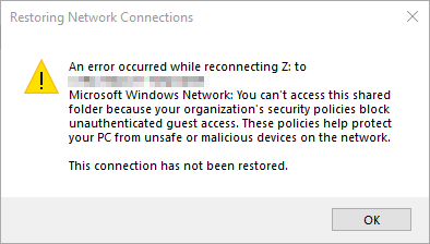 Guest Access Disabled by Default in Windows 10 Fall Creators